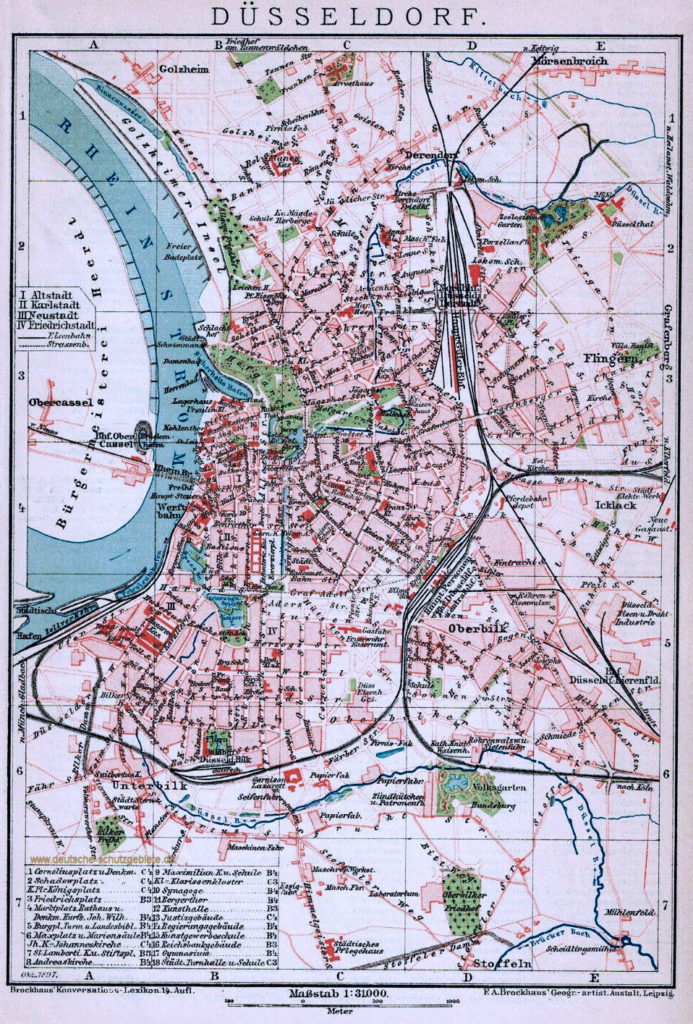 Düsseldorf Stadtplan 1894, Brockhaus Konversations-Lexikon 14. Auflage