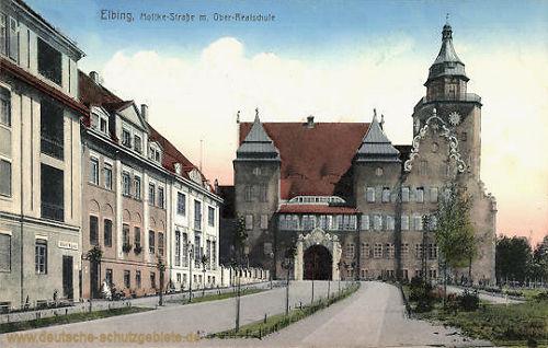 Elbing, Moltkestraße mit Ober-Realschule