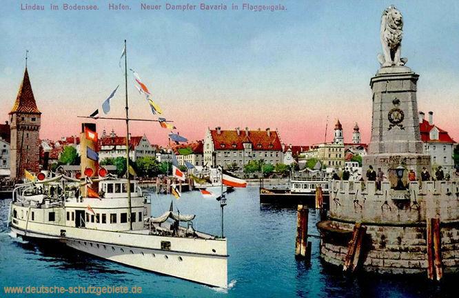 Lindau im Bodensee, Hafen. Neuer Dampfer Bavaria in Flaggengala