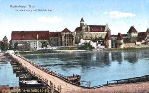 Marienburg, Die Marienburg mit Schiffsbrücke
