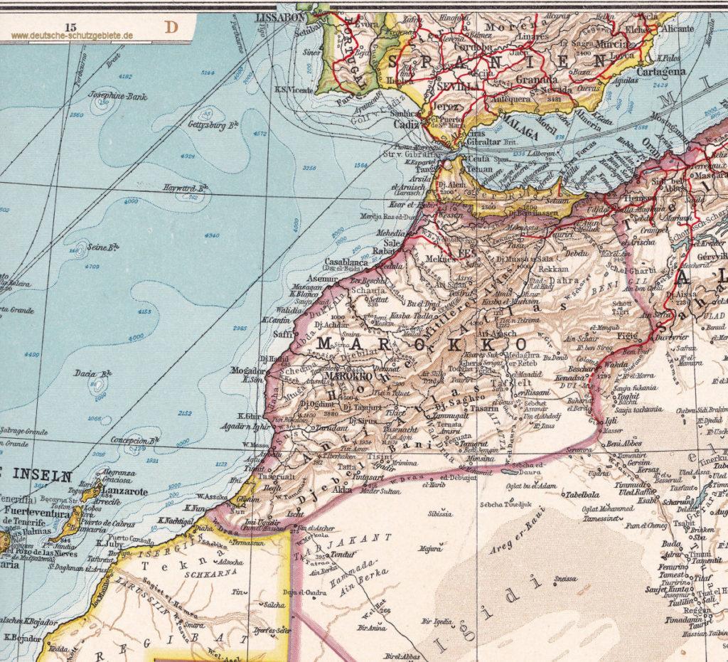 Marokko nach der Aufteilung zwischen Frankreich und Spanien, Andrees Handatlas 6. Auflage 1914
