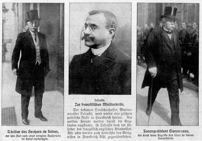 Französischer Minister des Äußeren de Selves, Delcassé und Clemenceau