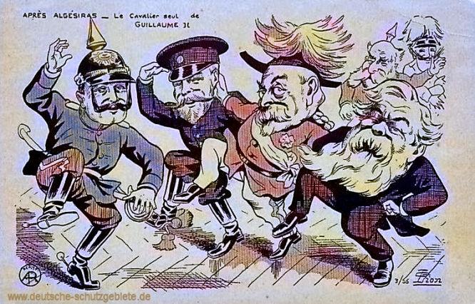 Marokkokrise. Nach der Algeciras-Konferenz: Zar Nikolaus II., König Eduard VII. und französische Staatspräsident Armand Fallières tanzen vereint, während Kaiser Wilhelm II. allein dasteht, französische Spottkarte 1906