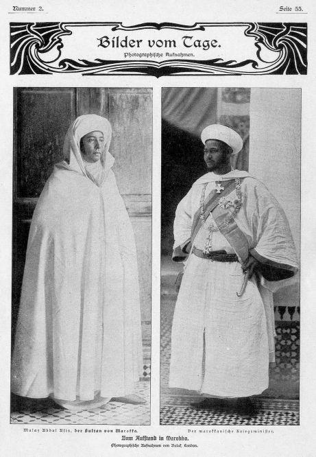 Mulay Abdul Afis, der Sultan von Marokko. Der marokkanische Kriegsminister. Fotos von Bolak, London.