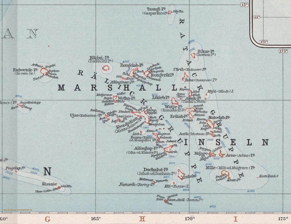 """Marshall-Inseln (""""Andrees Allgemeiner Handatlas"""", Verlag von Velhagen & Klasing, Bielefeld und Leipzig 1914)"""