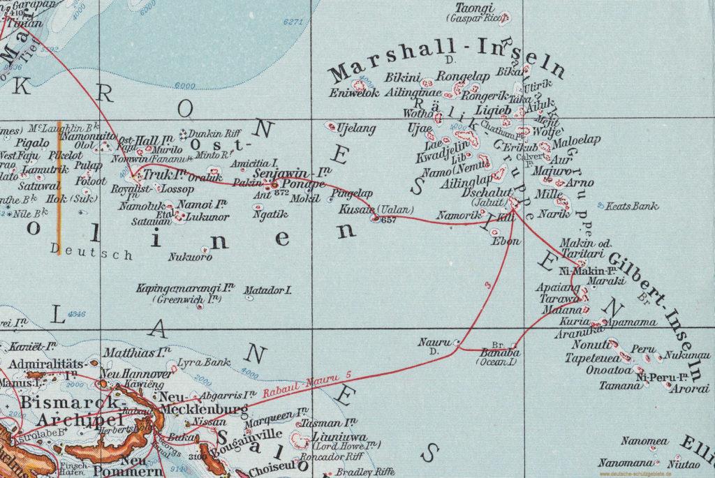 """Marshall-Inseln, Gilbert-Inseln und Nauru (""""Andrees Allgemeiner Handatlas"""", Verlag von Velhagen & Klasing, Bielefeld und Leipzig 1914)"""