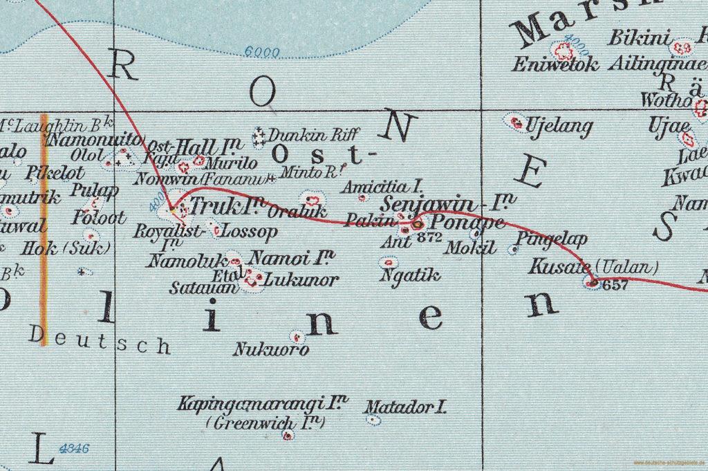 """Ost-Karolinen (""""Andrees Allgemeiner Handatlas"""", Verlag von Velhagen & Klasing, Bielefeld und Leipzig 1914)"""