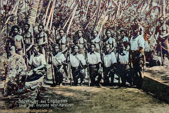 Polizeitruppe aus Eingeborenen Insel Jap. Deutsche West-Karolinen.