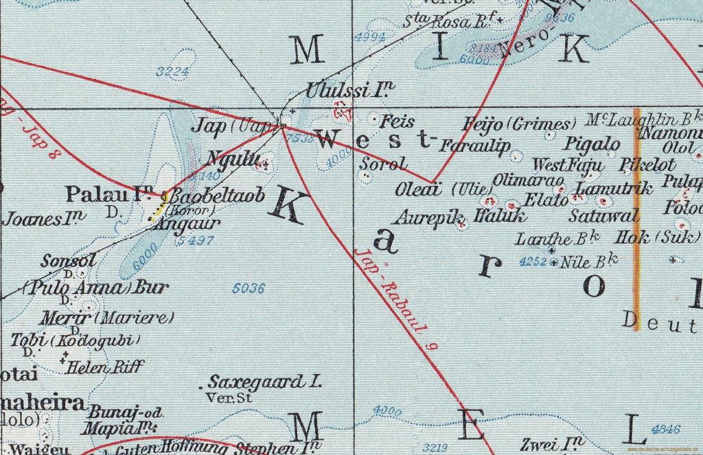 """West-Karolinen (""""Andrees Allgemeiner Handatlas"""", Verlag von Velhagen & Klasing, Bielefeld und Leipzig 1914)"""
