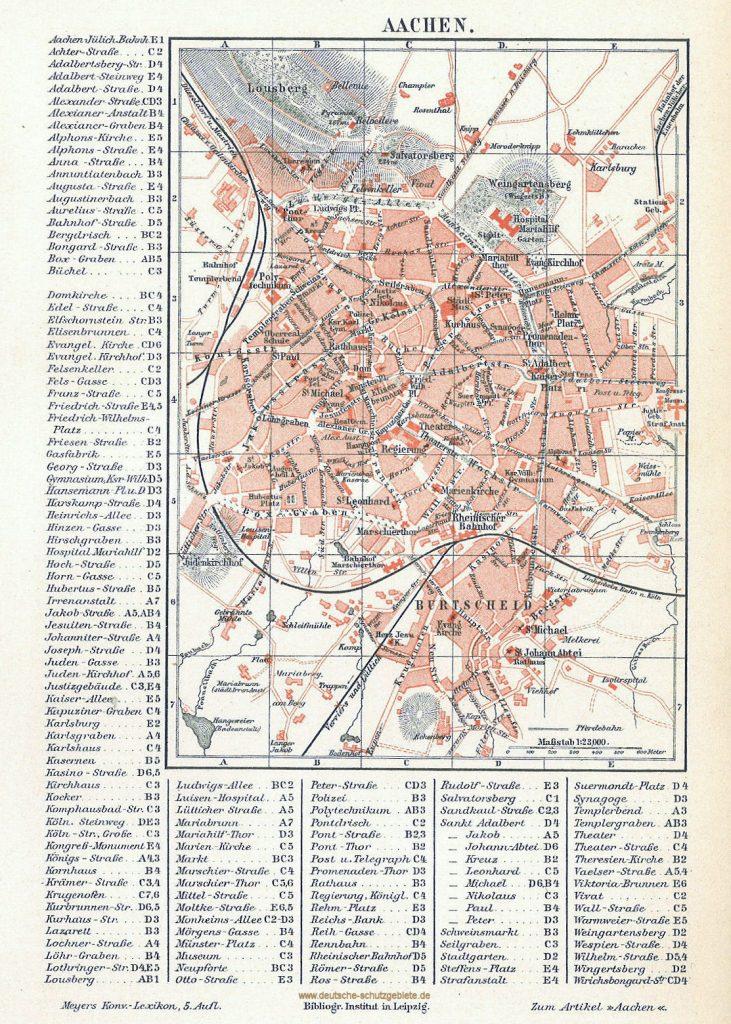 Aachen Stadtplan 1894 (Meyers Konversations-Lexikon 4. Auflage)