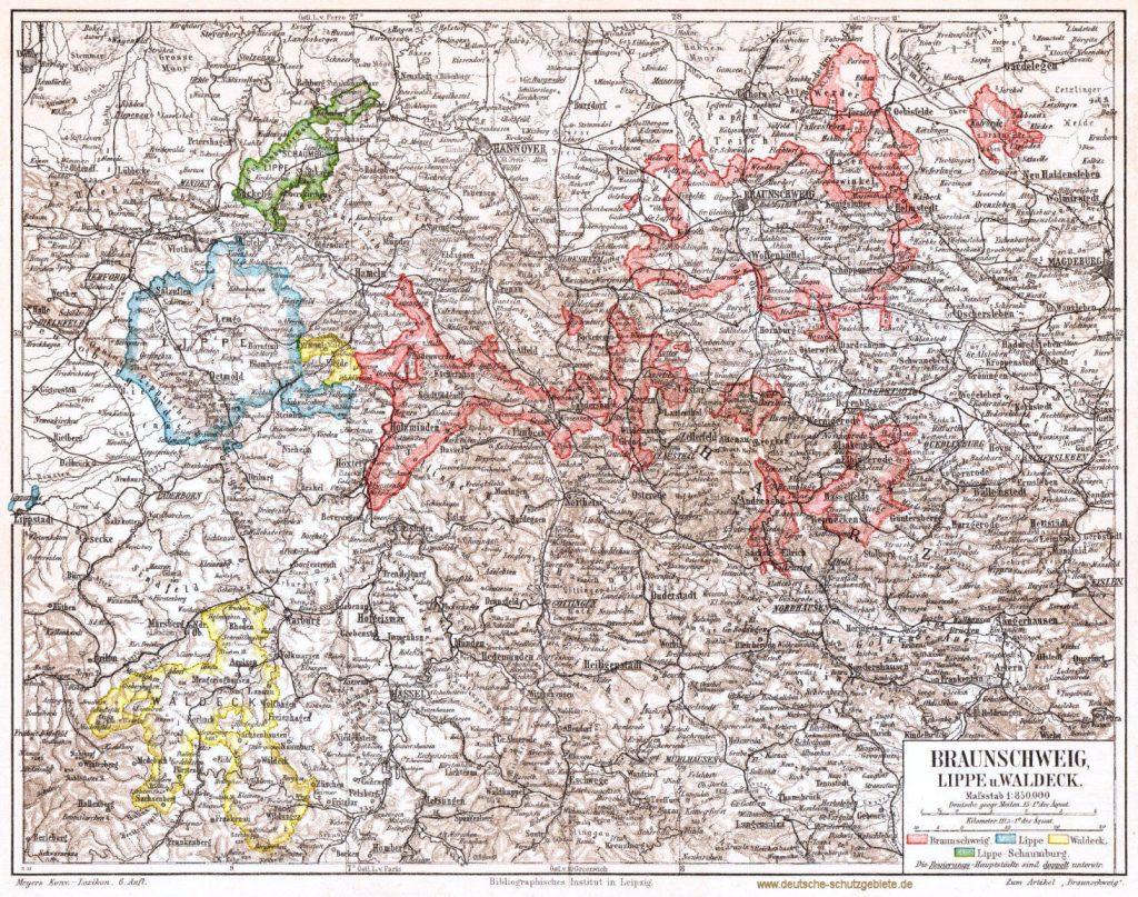 Braunschweig Lippe Waldeck 1900 (Meyers Konversations-Lexikon 6. Auflage)