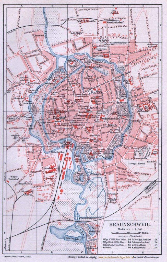 Braunschweig Stadtplan 1893 (Meyers Konversations-Lexikon 5. Auflage)