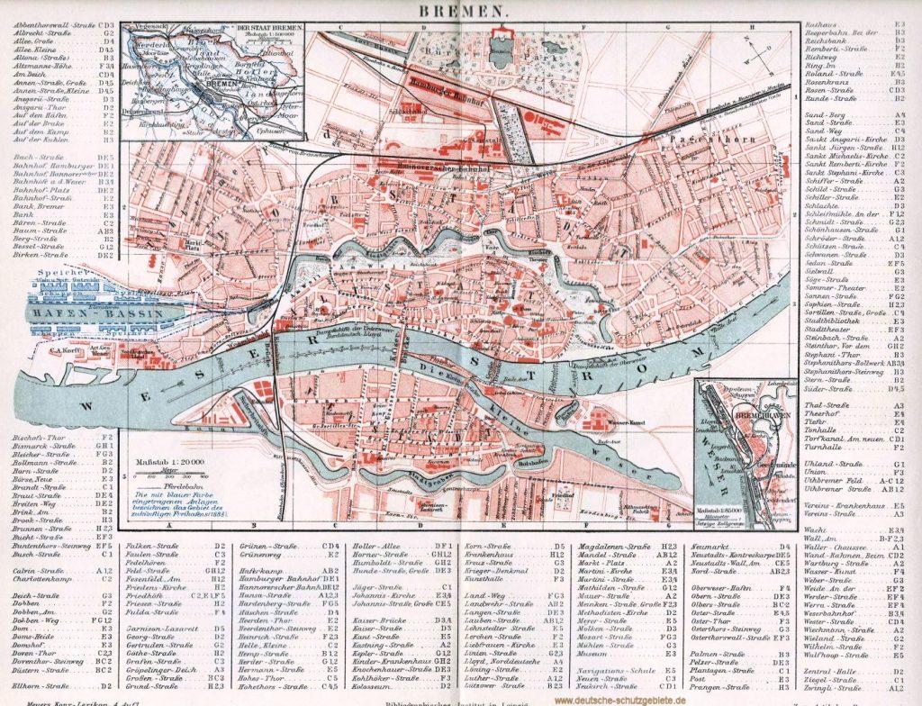 Bremen Stadtplan 1894 (Meyers Konversations-Lexikon 4. Auflage)