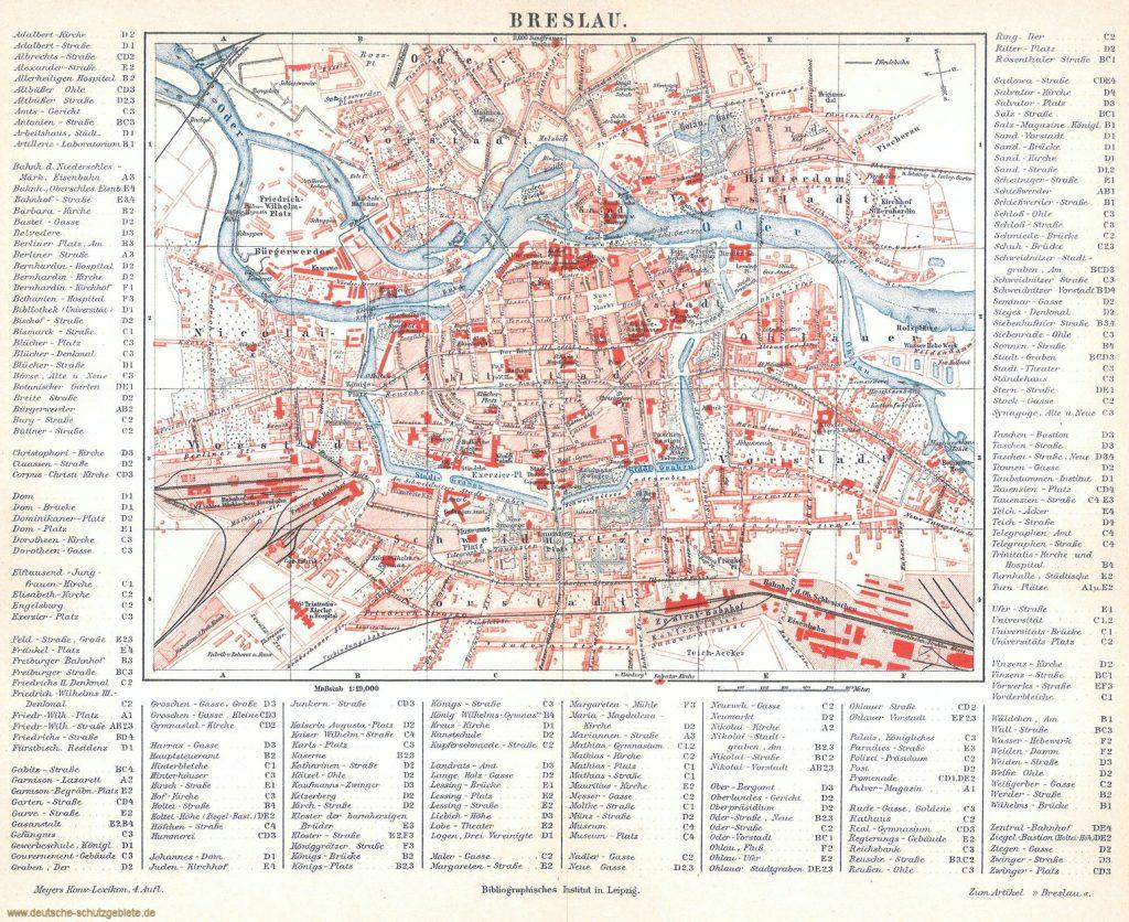 Breslau Stadtplan 1890 (Meyers Konversations-Lexikon 4. Auflage)