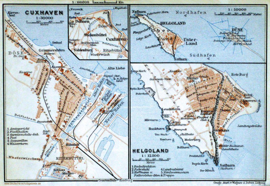 Cuxhaven und Helgoland Stadtplan um 1900 (Geographische Anstalt Wagner & Debes, Leipzig)