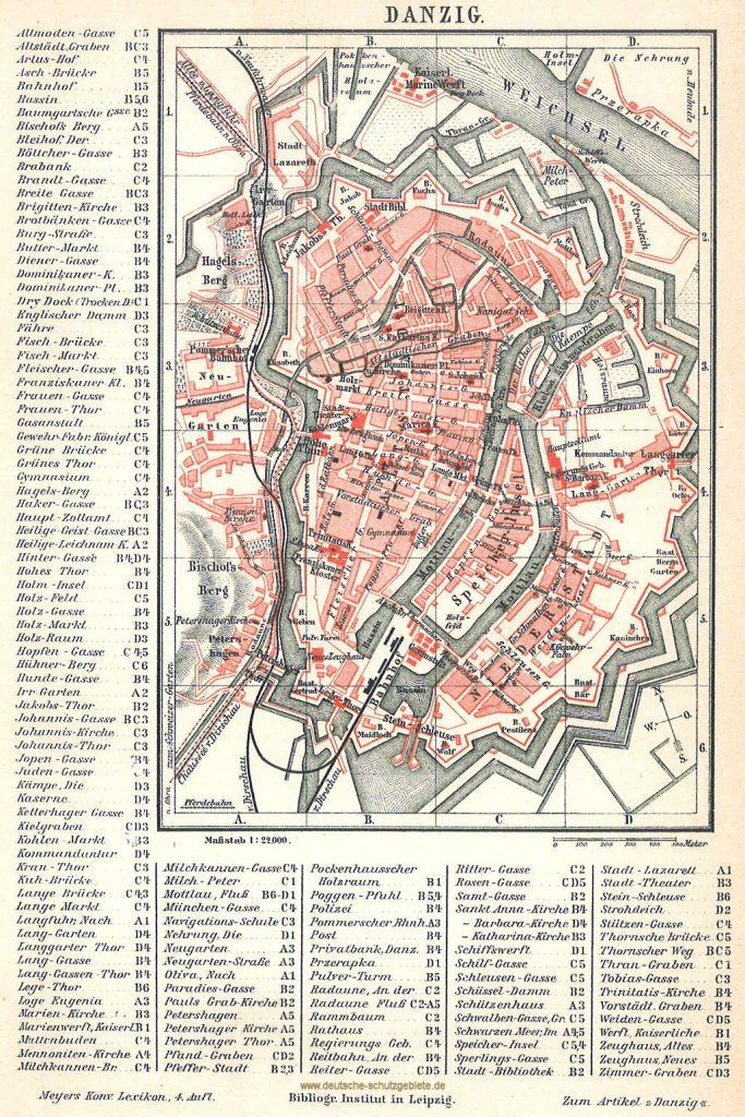 Danzig Stadtplan 1890 (Meyers Konversations-Lexikon 4. Auflage)