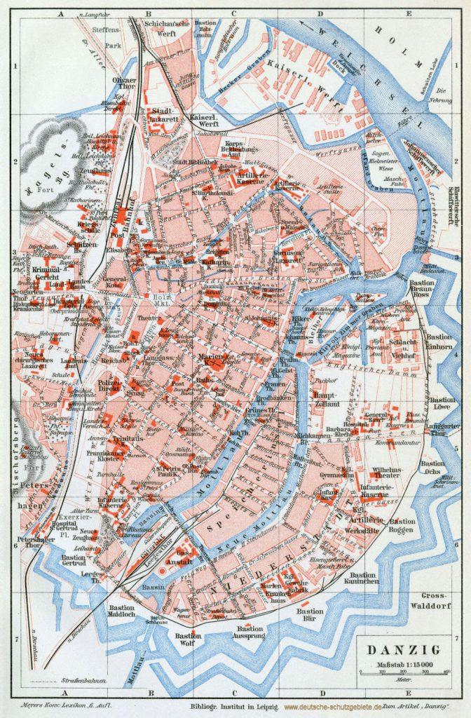 Danzig Stadtplan 1900 Stadtplan 1900 (Meyers Konversations-Lexikon 6. Auflage)