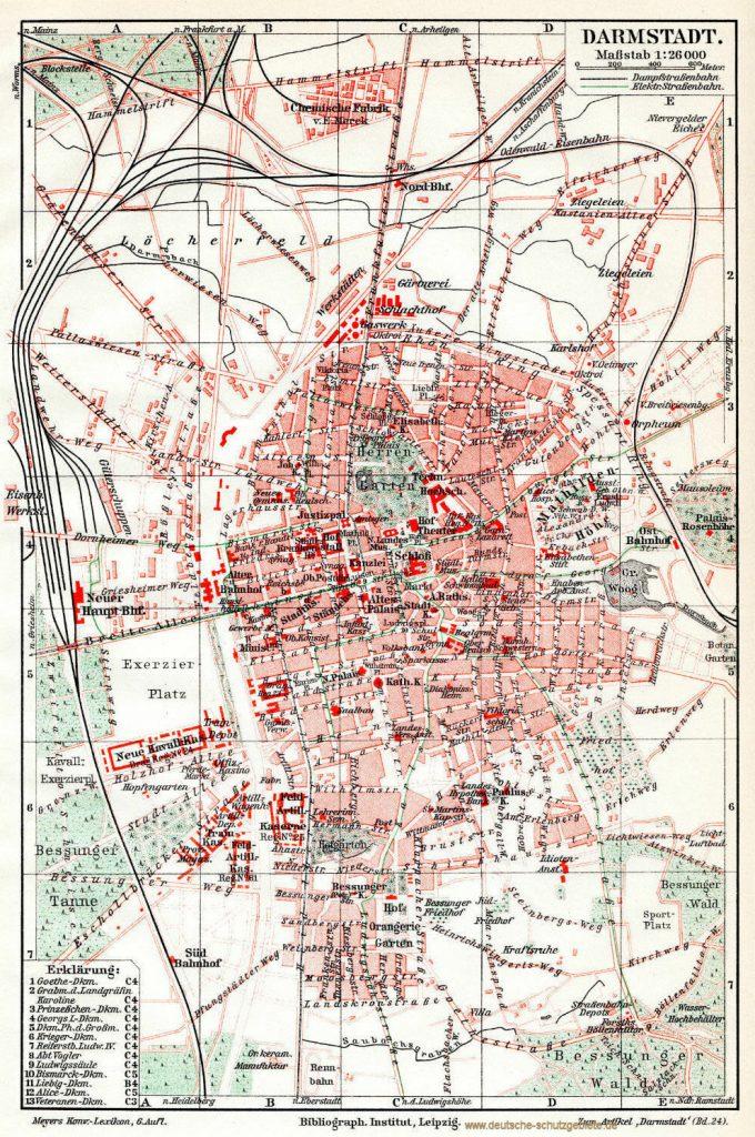 Darmstadt Stadtplan 1900 (Meyers Konversations-Lexikon 6. Auflage)