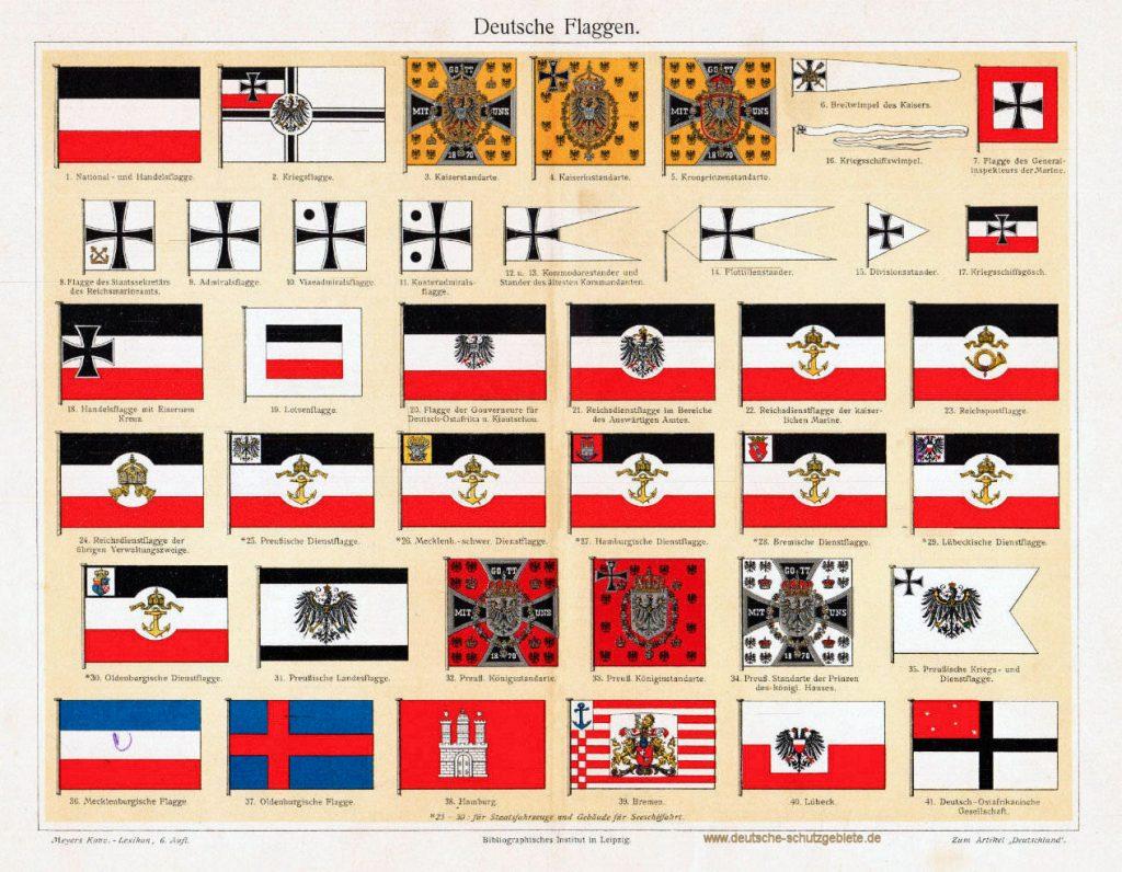 Deutsche Flaggen 1900 (Meyers Konversations-Lexikon 6. Auflage)