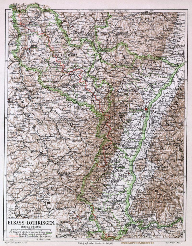 Elsass-Lothringen Landkarte 1900 mit deutsch-französischer Sprachgrenze (Meyers Konversations-Lexikon 6. Auflage)