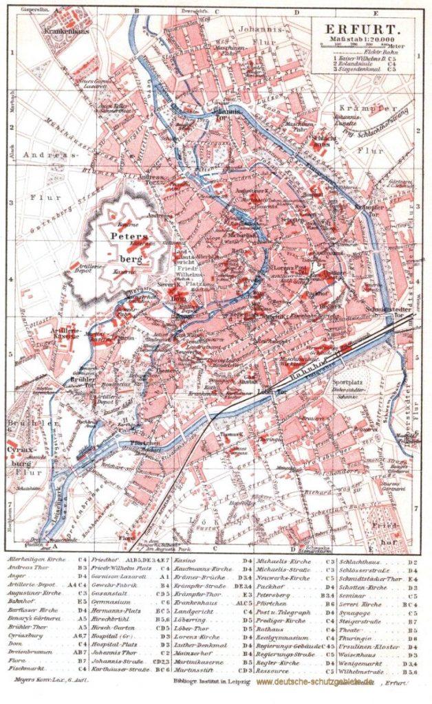 Erfurt Stadtplan 1900 (Meyers Konversations-Lexikon 6. Auflage)