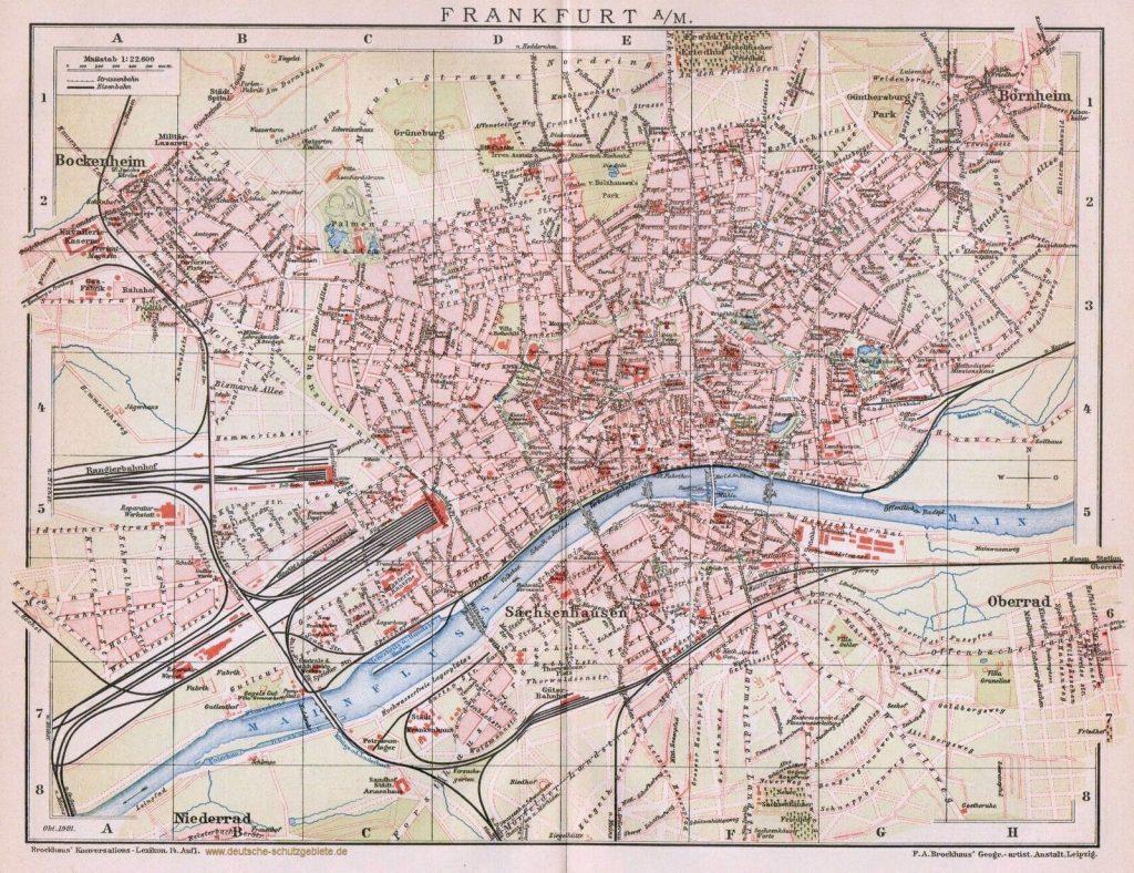 Frankfurt a. M. Stadtplan 1900 (Brockhaus Konversations-Lexikon 14. Auflage)