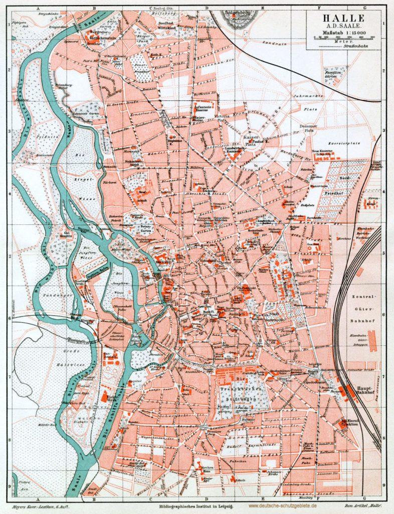 Halle Stadtplan 1900 (Meyers Konversations-Lexikon 6. Auflage)