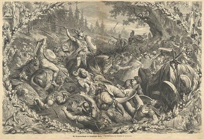 Hermannsschlacht im Teutoburger Walde (Holzstich)