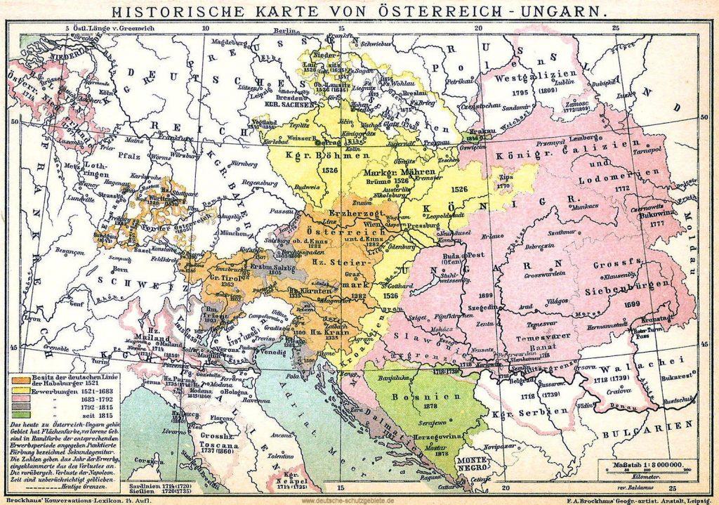 Historische Karte von Österreich-Ungarn 1521-1918 (Brockhaus'Konversations-Lexikon 14. Auflage)