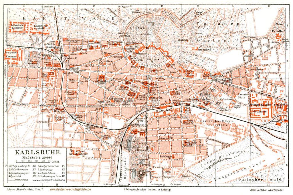 Karlsruhe Stadtplan 1900 (Meyers Konversations-Lexikon 6. Auflage)
