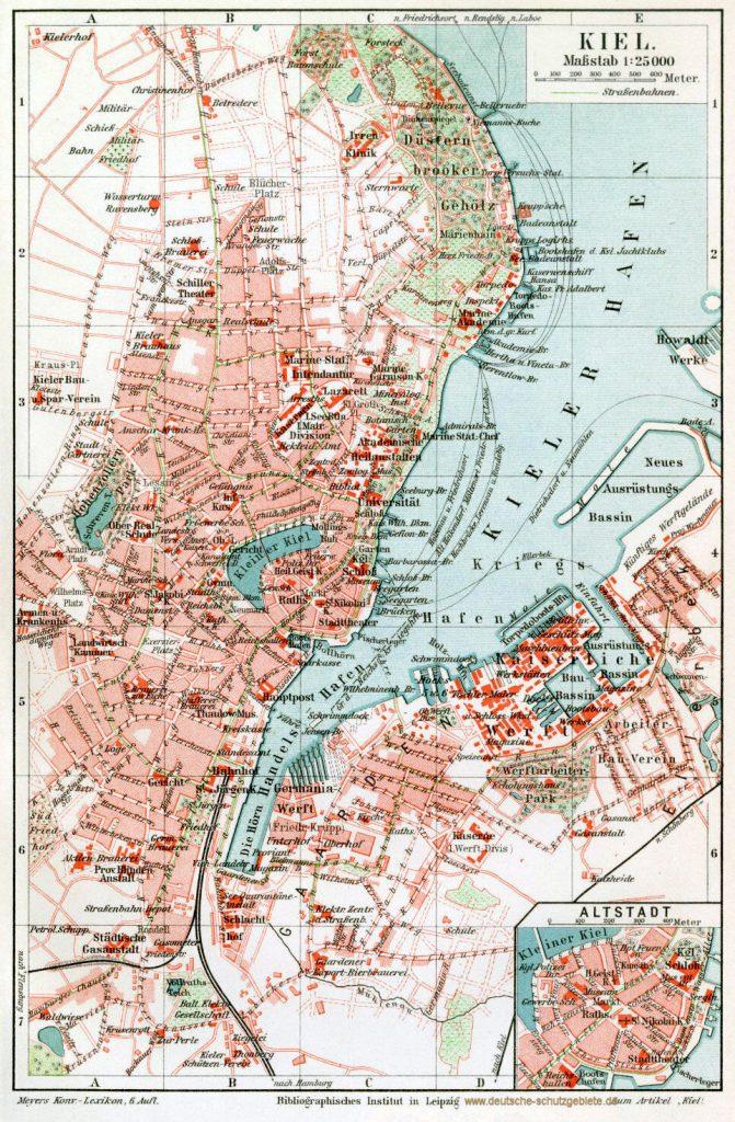 Kiel Stadtplan 1900 (Meyers Konversations-Lexikon 6. Auflage)