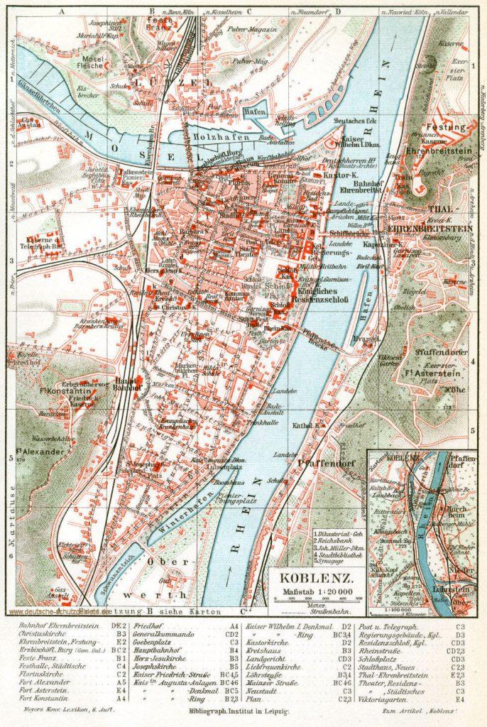 Koblenz Stadtplan 1900  (Meyers Konversations-Lexikon 6. Auflage)