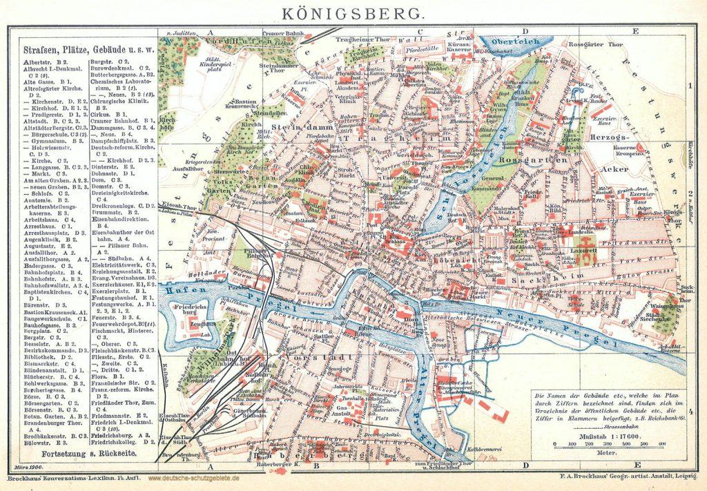 Königsberg Stadtplan 1900 (Brockhaus Konversations-Lexikon 14. Auflage)