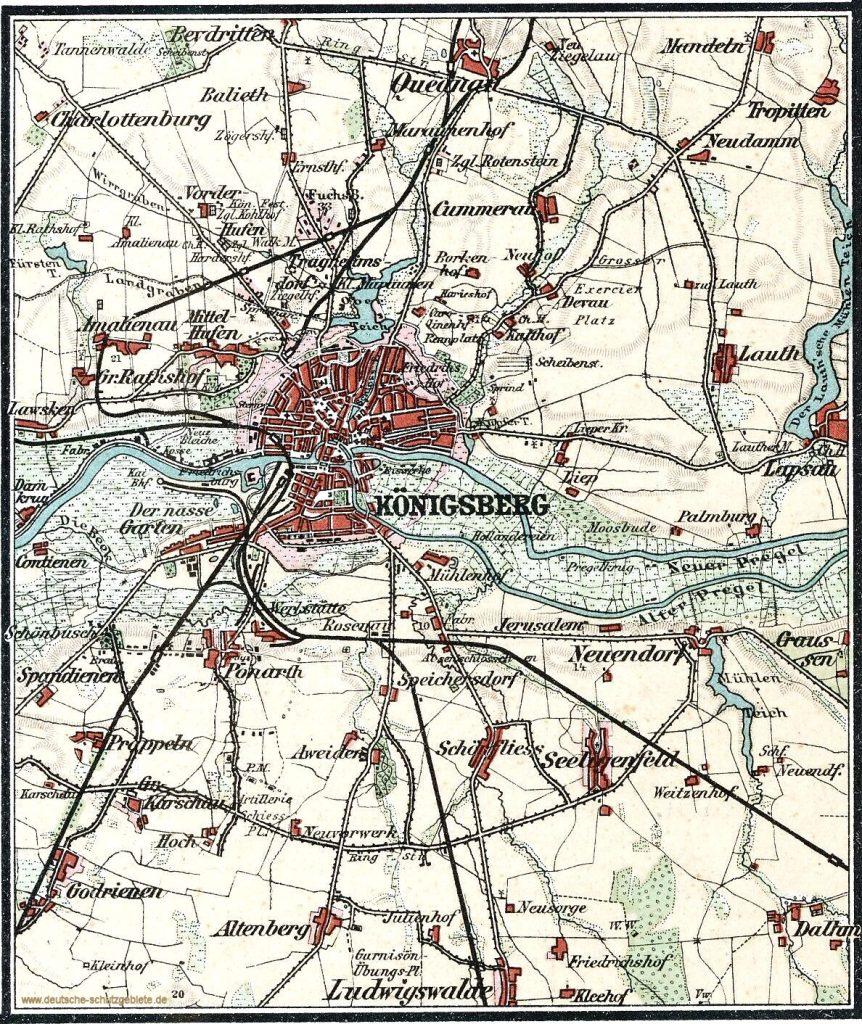 Königsberg Umgebung Landkarte 1900