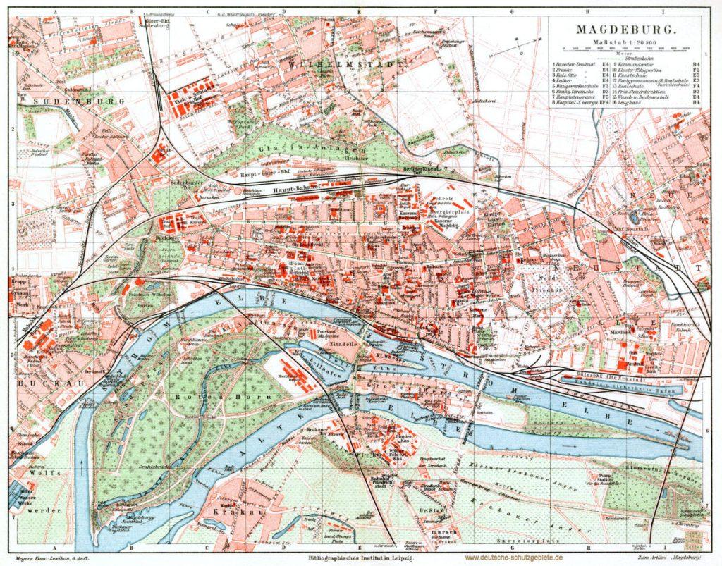 Magdeburg Stadtplan 1900 (Meyers Konversations-Lexikon 6. Auflage)