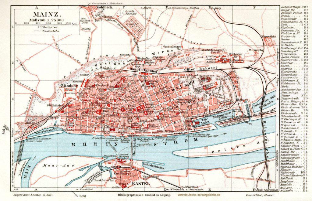 Mainz Stadtplan 1900 (Meyers Konversations-Lexikon 6. Auflage)
