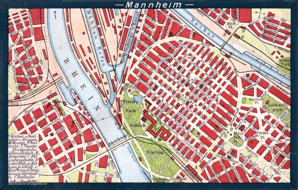 Mannheim Stadtplan um 1920