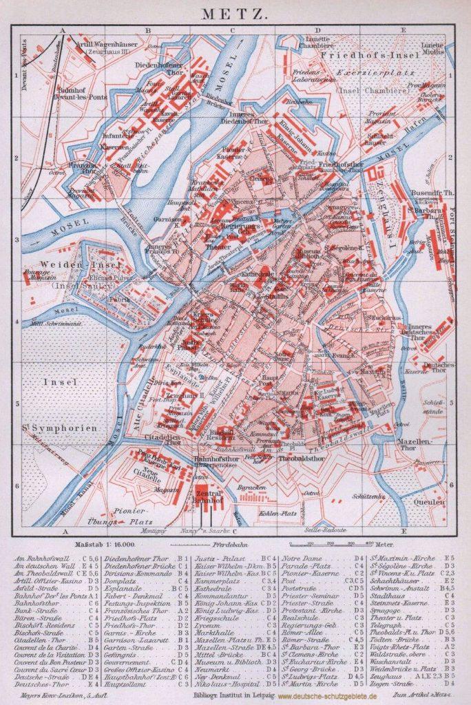 Metz Stadtplan 1892 (Meyers Konversations-Lexikon 5. Auflage)