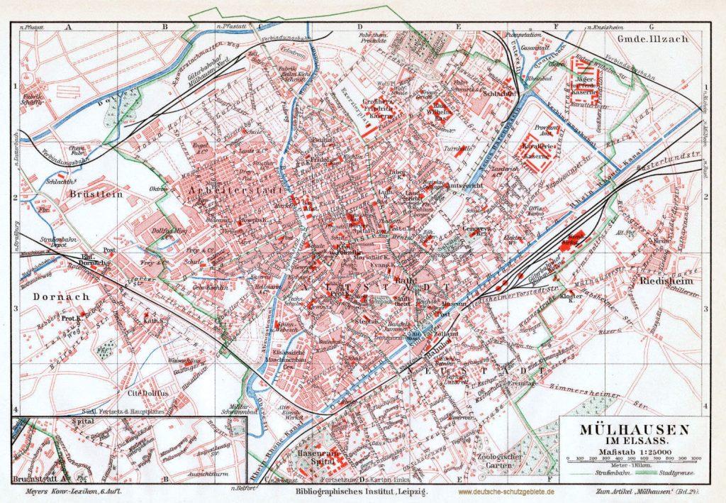 Mülhausen i. E. Stadtplan 1900 (Meyers Konversations-Lexikon 6. Auflage)