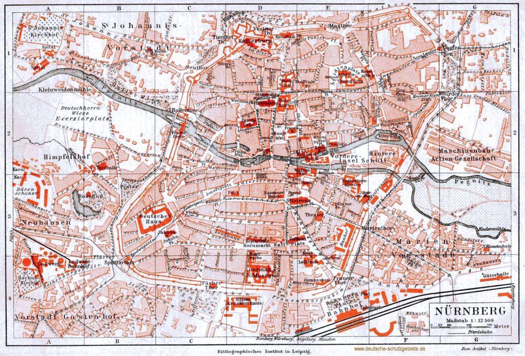 Nürnberg Stadtplan um 1900 (Bibliographisches Institut in Leipzig)