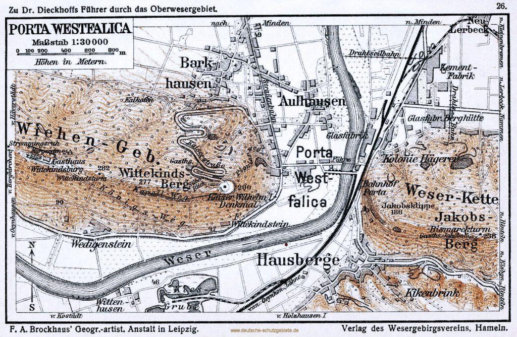 Porta Westfalica Landkarte um 1900 (F. A. Brockhaus' Geogr.-artist. Anstalt in Leipzig. Verlag des Wesergebirgsvereins, Hameln)