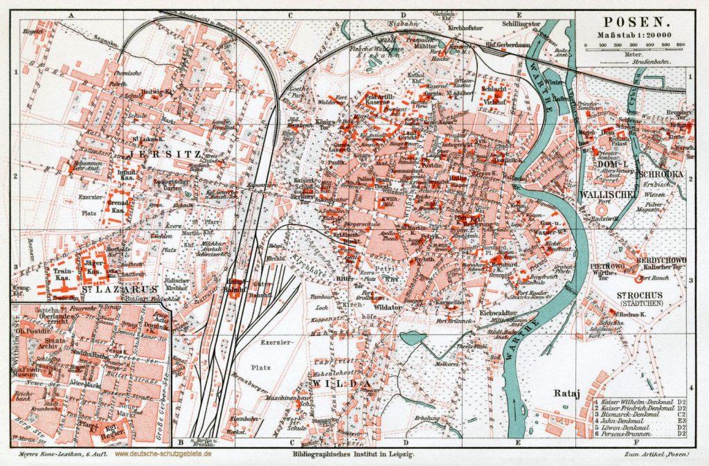 Posen Stadtplan 1900 (Meyers Konversations-Lexikon 6. Auflage)