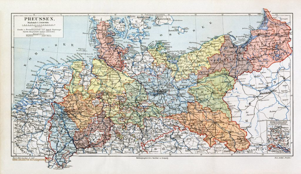 Preussen Karte 1900 (Meyers Konversations-Lexikon 6. Auflage)