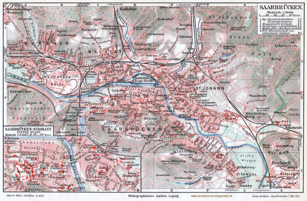 Saarbrücken St. Johann Malstatt-Burbach Stadtplan 1900 (Meyers Konversations-Lexikon 6. Auflage)
