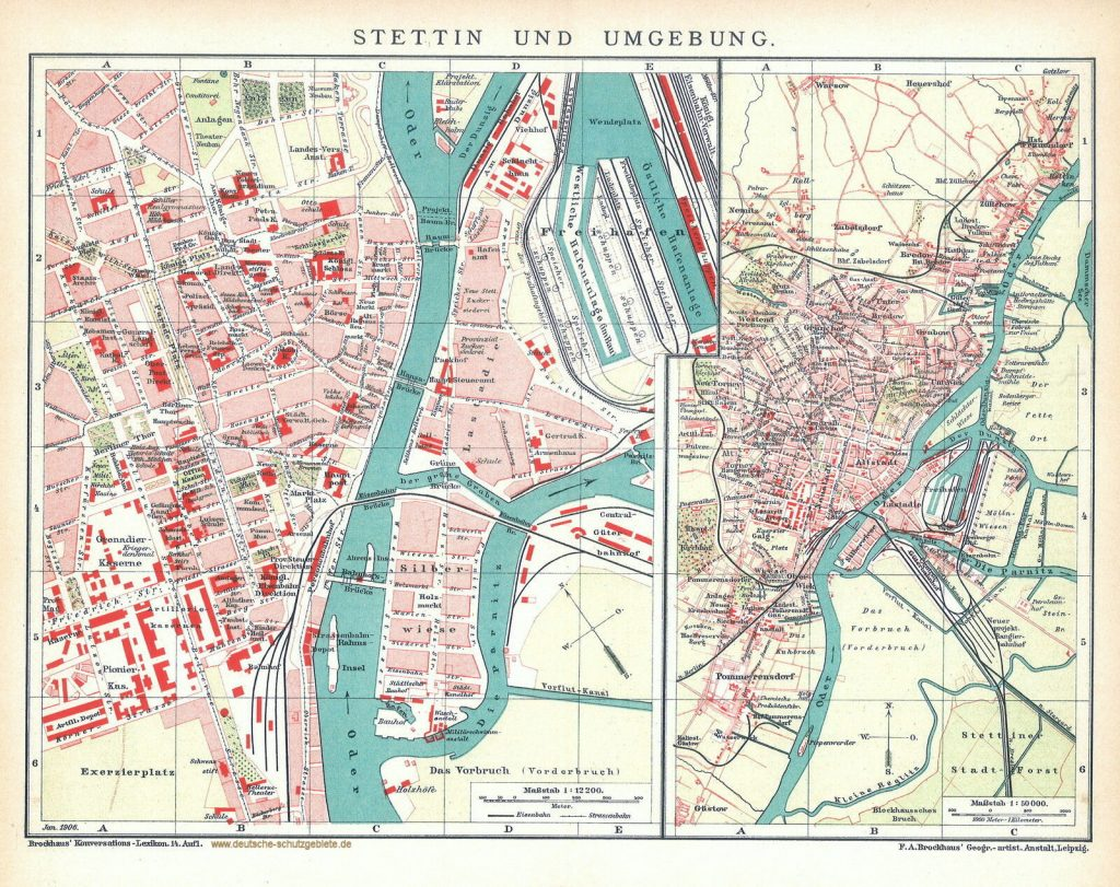 Stettin Stadtplan 1906 (Brockhaus'Konversations-Lexikon 14. Auflage)