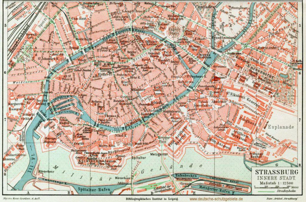 Straßburg innere Stadt Stadtplan 1900 (Meyers Konversations-Lexikon 6. Auflage)