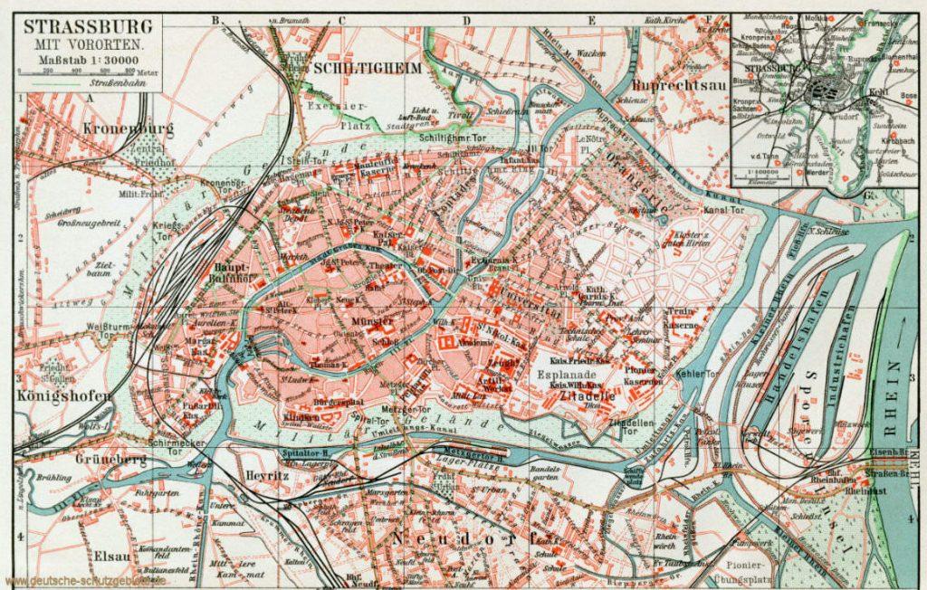 Straßburg mit Vororten Stadtplan 1900 (Meyers Konversations-Lexikon 6. Auflage)