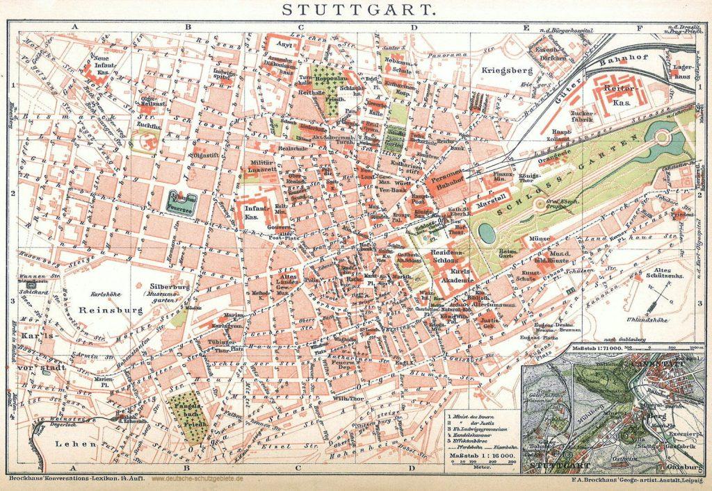 Stuttgart Stadtplan 1900 (Brockhaus'Konversations-Lexikon 14. Auflage)