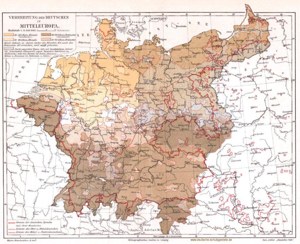 Verbreitung der Deutschen in Mitteleuropa 1900 (Meyers Konversations-Lexikon 6. Auflage)