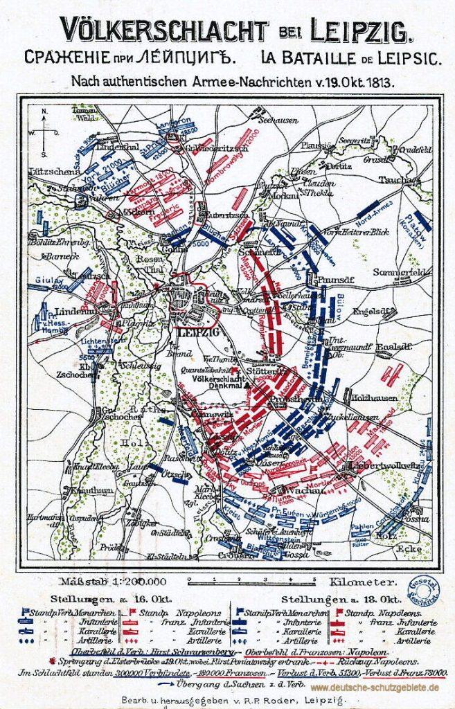 Völkerschlacht bei Leipzig. Nach authentischen Armee-Nachrichten vom 19. Oktober 1813. Bearb. u. herausgegeben von R.P. Roder, Leipzig